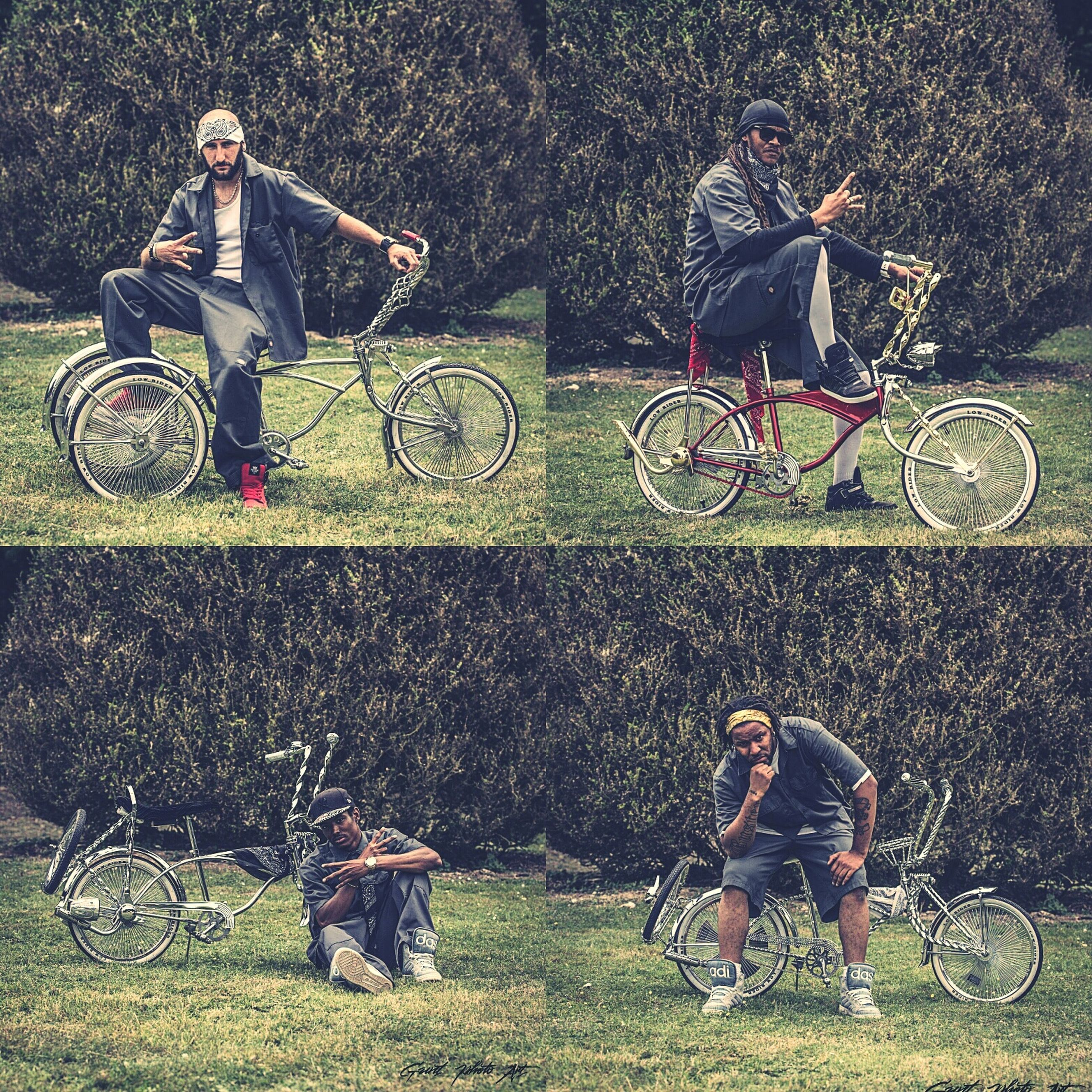 bicycle, lifestyles, men, land vehicle, leisure activity, transportation, mode of transport, riding, grass, togetherness, field, motorcycle, cycling, casual clothing, boys, full length, bonding