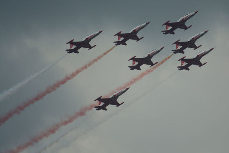 F-5E Tiger II Grey Skies Turkish Stars Air Show Aerobatics Air Force Airplane Airshow Coordination F-5 Fighter Plane Flying Freedom Fighters High Contrast Order Plane Red & White Sky Teamwork Turkish Stars BiAS Airshow Bucharest Romania Planes In The Sky BIAS2018 Bias Diagonal 17.62°