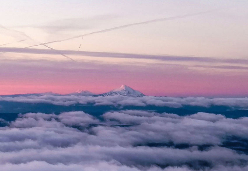 Mount Jefferson as seen at sunrise while climbing Mount Hood Red Sunset Pink Color No People Cloud - Sky Outdoors Tranquility Sky Nature Landscape Beauty In Nature Day Mount Jefferson Oregon