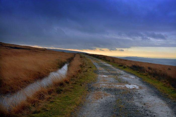 Pennine Way footpath near Blackstone Edge. Pennine Way Stanza Stones Landscape Footpath