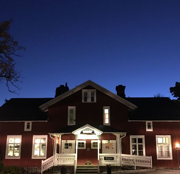 Traditional House Sweden Swedish Architecture Night Night Photography Night Shot Blue Sky Color Contrast Cozy