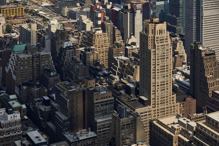High angle view of buildings in new york