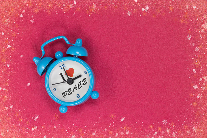 Alarm Clock Blue Clock Clock Clock Face Close-up I Love Peace Indoors  Minute Hand No People Red Time