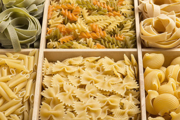 Full frame shot of various pastas