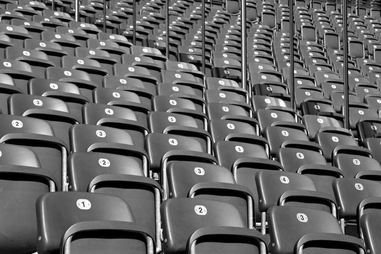Berlin Auditorium Backgrounds Bnw Chair Close-up Day Full Frame In A Row Indoors  Large Group Of Objects Monochrome No People Number Numbers Olympiastadion Repetition Seat Seats Stadium Texture