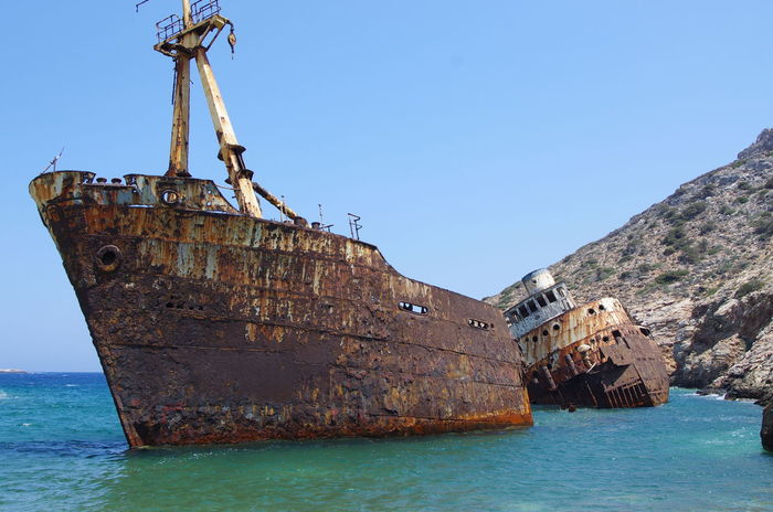 Griechenland Griechische Inseln Abandoned Amorgos Amorgosisland Beauty In Nature Blue Clear Sky Damaged Day Greece Nature Nautical Vessel No People Outdoors Run-down Rusty Sea Shipwreck Shipwreck Bay Sky Sunken Transportation Water Waterfront