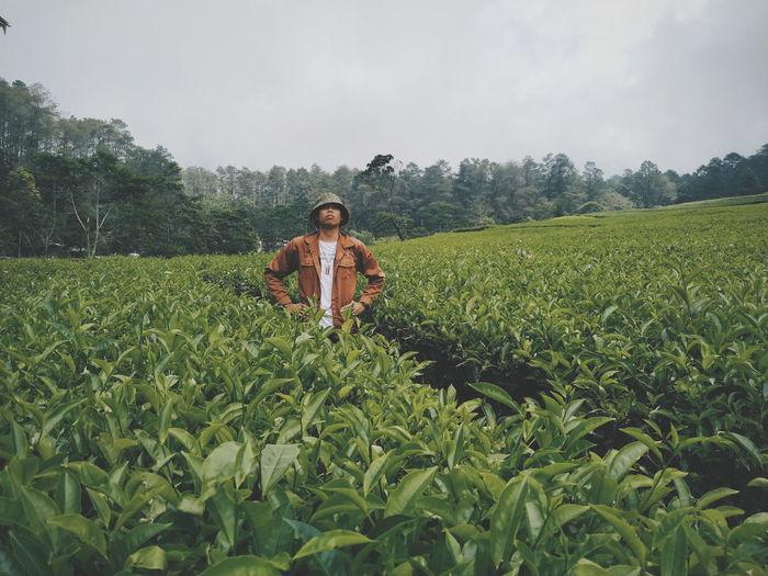 Portrait of man standing in field