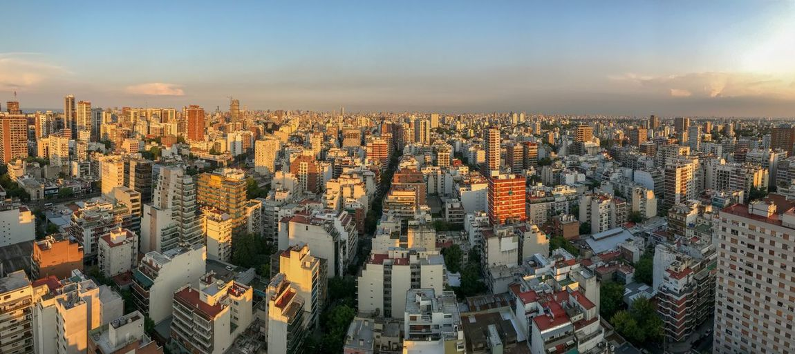 Evening view of buenos aires, capital of argentina, seen from belgrano neighborhood