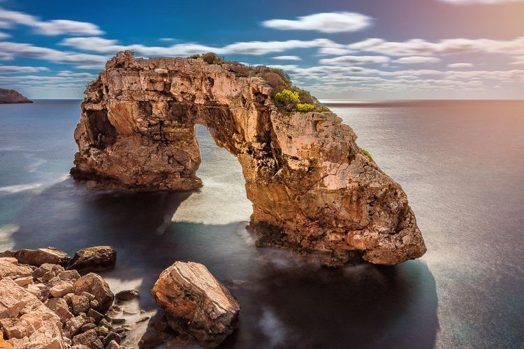 Cala Figuera Mallorca, Spain Solid Rock Formation Rock Relaxing Holiday Vacation Mallorca SPAIN Sea Water Sky Tranquility Sunlight Outdoors Horizon Over Water Tranquil Scene Scenics - Nature No People