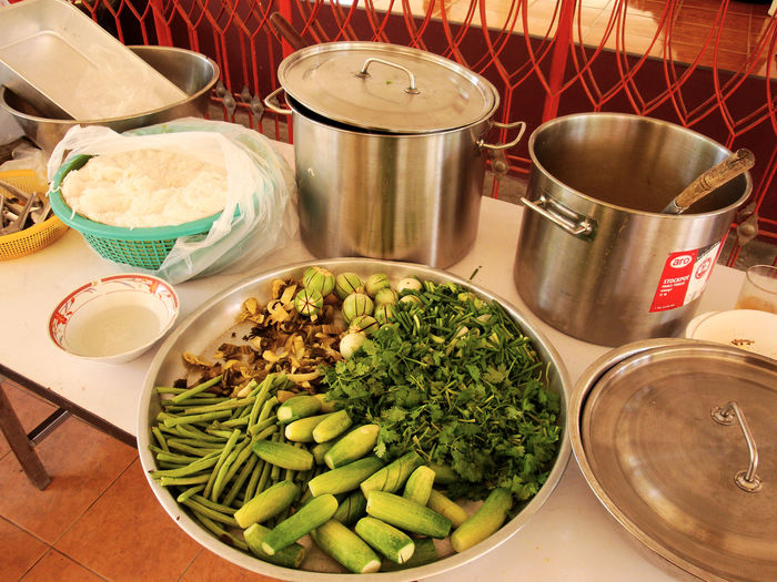 traditional Thai food Asian Kitchen Domestic Kitchen Food Healthy Eating No People Plate Social Issues Thai Foods Thai Gemüse Und Kräuter Thai Küche Thai Vegetable And Her Travel Photography