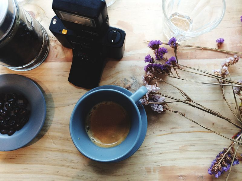 Food And Drink Drink Table Refreshment Freshness Coffee Cup Coffee - Drink Indoors  High Angle View Still Life Directly Above Non-alcoholic Beverage Vase Cup Flower Hot Drink Beverage Serving Size Person Tea