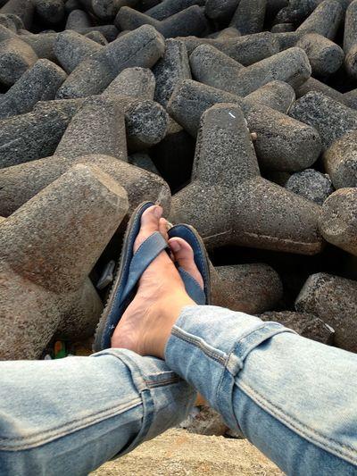Low Section Human Leg Men Beach Jeans Close-up