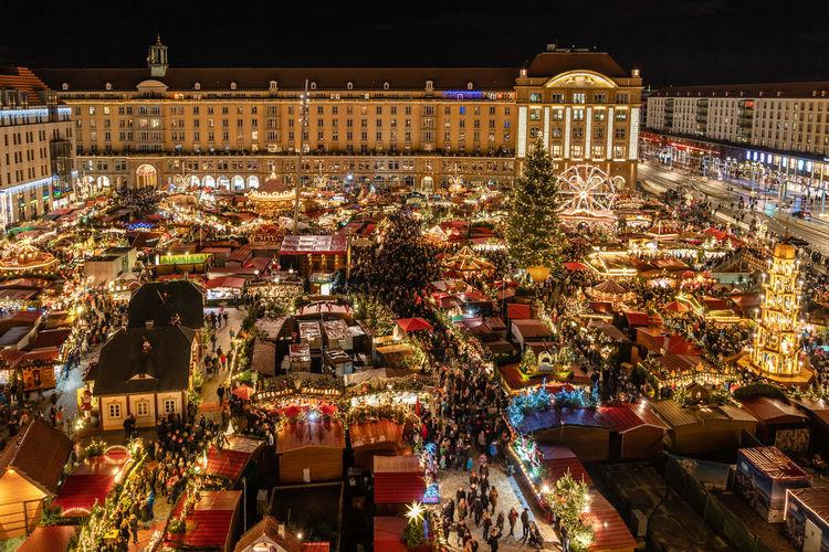 High angle view of illuminated market at night