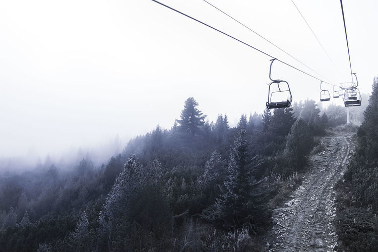 Empty cable car in Bulgaria. Winter Beauty In Nature Beauty In Nature Cable Cable Car Cold Cold Temperature Eerie Fog Mode Of Transportation Mountain Nature No People Outdoors Overhead Cable Car Plant Scenics - Nature Ski Lift Sky Tranquil Scene Tranquility Transportation Tree Winter