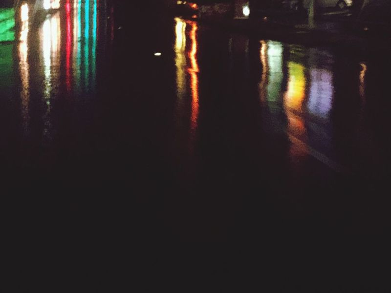Reflection Water Night Illuminated Outdoors No People