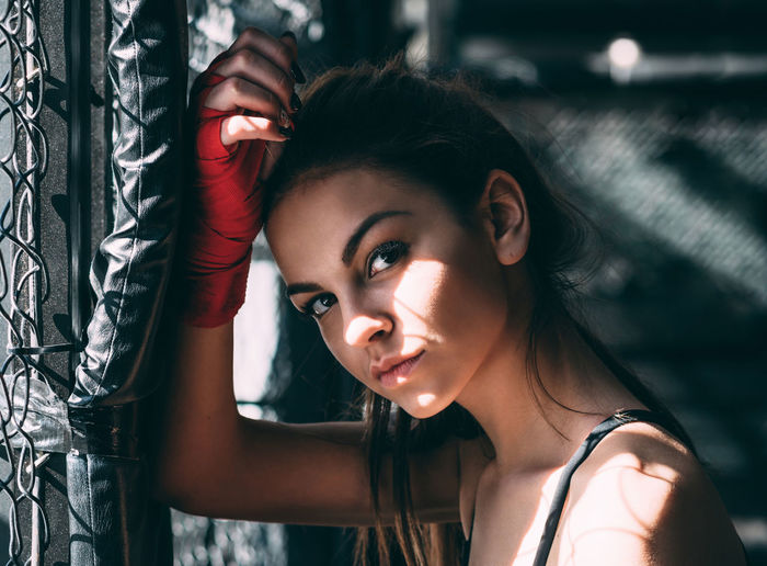 Beautiful Box Boxing Close-up Cute Fitness Front View Girl Gym Headshot Human Face Light Light And Shadow Person Portrait Portrait Of A Woman Training Woman Workout Young
