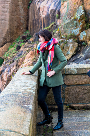 Fashion Photography Fashion Woman Womanofstyle Style Nature Rocks Portrait Of A Woman Standing Alone People Smart Elegant Scarf Wintertime