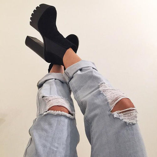Shoes Fashion Lifestyle Black Blue Jeans Ripped Jeans