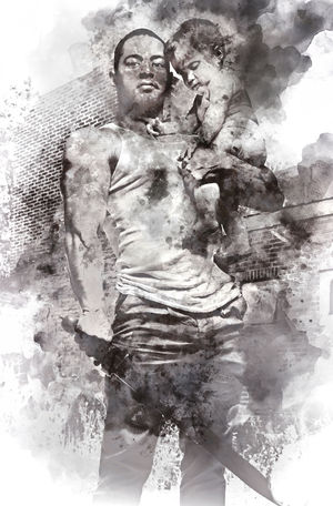 Father hugging a baby and holding a sword. Conceptual digital watercolor painting, parental protection. Black and white. Dad Digital Drawing Digital Paint Family HERO Watercolour Daughter Defense Digital Art Digital Illustration Digital Painting Digitally Altered Digitally Generated Digitally Generated Image Father Father And Daughter Illustration Infant Kid Parent Toddler  Togetherness Watercolor Watercolor Painting Watercolour Painting