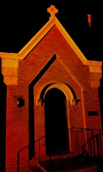 Building Exterior Façade History Built Structure Church Architecture Churches Church Church Buildings Taking Photos Night View Adelaide, South AustraliaNight Photography Nightphotography Buildings Facades Stone Buildings Stone Church Doorways Church Doorway Arched Doorways Arched Doorway Archways Arches And Doors Arches Golden Glow
