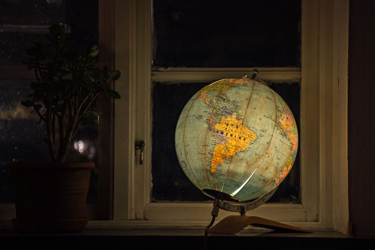 Globe and potted plant on window sill
