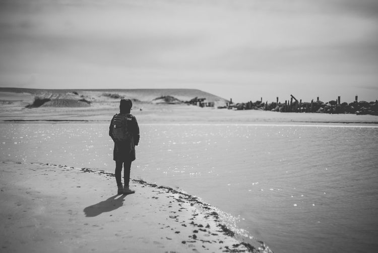 person Standing Watching Looking Blackandwhite Šventoji šventoji Beach Beach Looking At View Outdoors Tranquility One Person Traveler Explorer Observing Landscape Lithuania Moment Postcard Alone Single Depression - Sadness Lost The Great Outdoors - 2019 EyeEm Awards