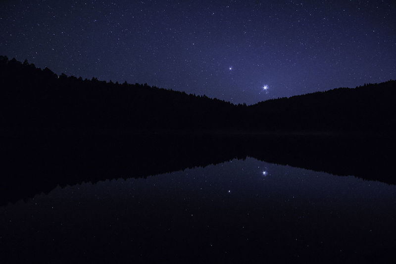 Idyllic view of calm lake against star field