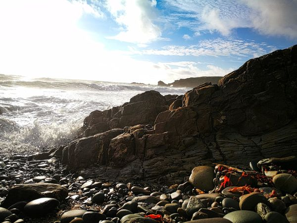 Love the sound if the waves crashing on a pebble beach. Day Outdoors Sky Nature No People Sea Water Waves Landscape Seascape Seaside Ocean Pebble Pebble Beach Cornwall Uk Blue Sky Relaxing