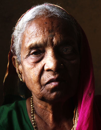 Aai Care Close-up Colors Front View Grandmother Green Headshot Human Face Jewelry Light And Shadow Loving Magenta Mother Old Woman Pink Portrait Tan Skin Village Villager Wrinkles
