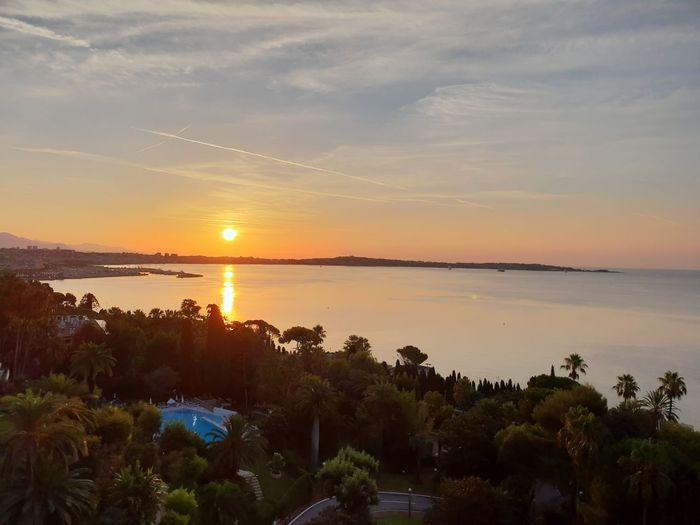 Cannes Swimmingpool Water Sea Sunset Tree Beauty Beach Multi Colored Blue Sunlight Sun