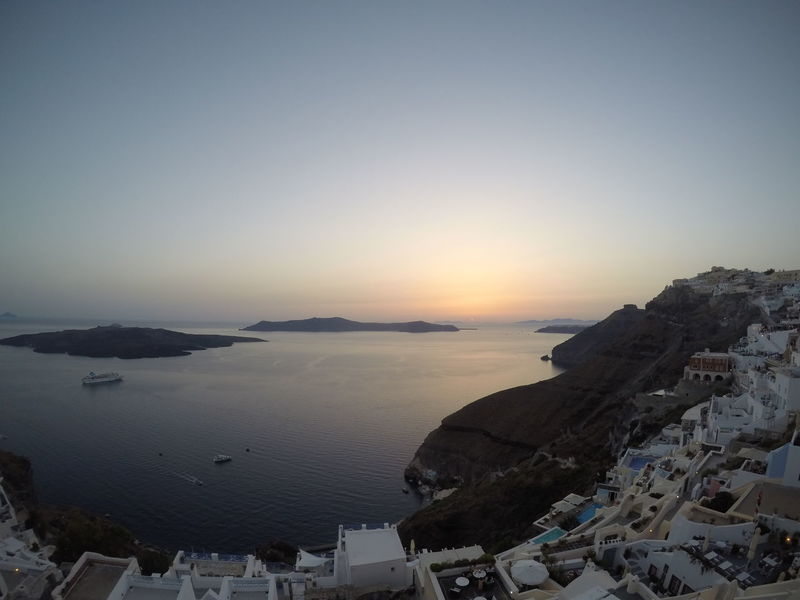 Fira and the Caldera | Santorini Beach Beauty In Nature Caldera Day Fira Fira Santorini Gopro Horizon Over Water Nature No People Ocean Outdoors Santorini Santorini Island Santorini, Greece Scenics Sea Sky Sunset Vacations Wide Angle
