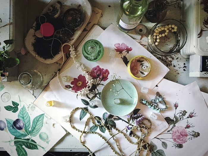 Close-up of objects on table