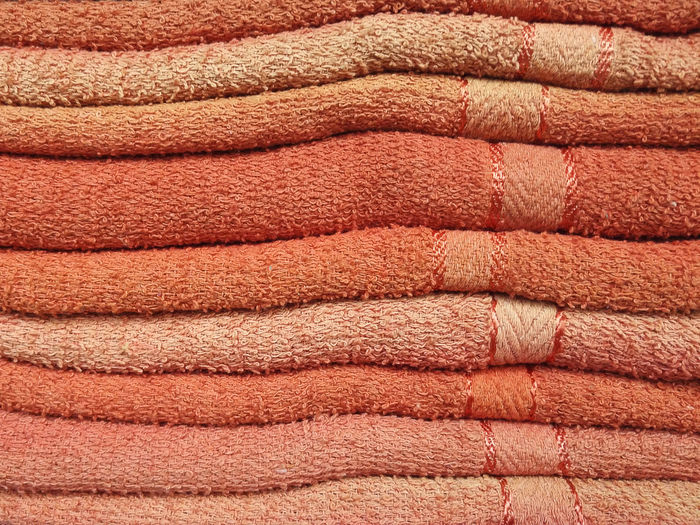 Bat Pastal Power Backgrounds Close-up Day Fabric Full Frame Heap Large Group Of Objects No People Orange Color Pattern Stack Textile Textured  Thick Towel