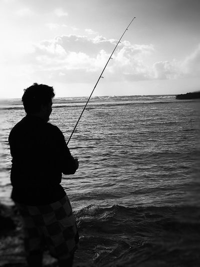 Check This Out Hanging Out IPhoneography Beautiful Nature The Great Outdoors With Adobe Black And White Photography Blackandwhite Ocean Young Adult Young Man Fishing Rod Gone Fishing Fishing Beautiful Day Nature Fresh On Eyeem  EyeEm Gallery My Favorite Photo EyeEm Guam Fisherman The Great Outdoors - 2016 EyeEm Awards