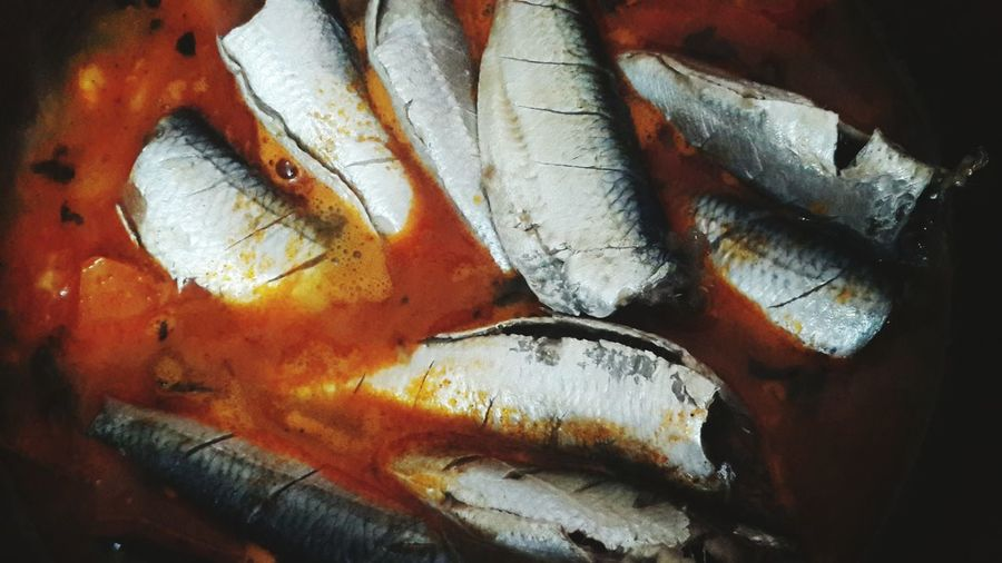 Sardine Curry Black & White Colour cooking Into The Colour