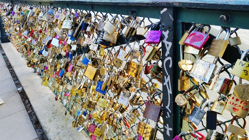 Paris, France  Lockbridge  Locks Colors Bridge Love ♥