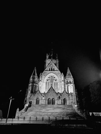 Church, night view, b&w Religion Built Structure History Night Architecture