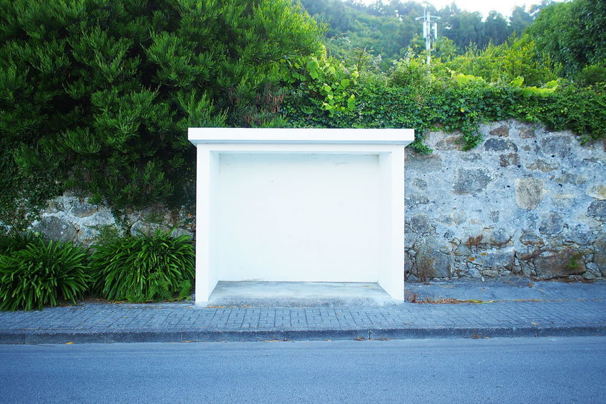 Empty Bus Stop Portugal Architecture Summer ☀ Minimalobsession Minimalism Travel Photography Getting Inspired From My Point Of View White Hikinggalicia Pivotal Ideas