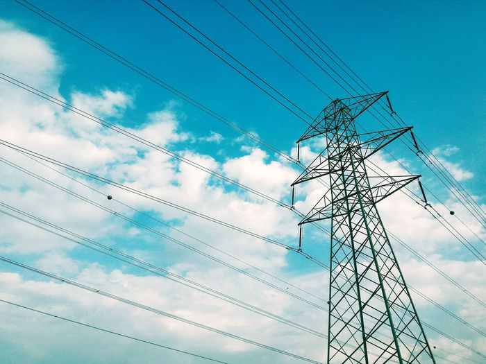 Clouds Sky Transmission Line Tower Transmission Tower Transmissiontower Blue Clear Sky Sky And Clouds Tower