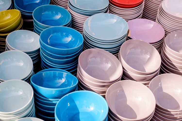 High angle view of various containers at market stall