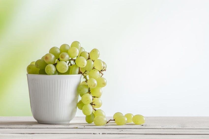 Green grapes in a cup Lifestyle Bright Table Vine Grapes Green Color Food And Drink Studio Shot Fruit No People Table White Background Sweet Food Healthy Eating Indoors  Day Food Freshness Close-up