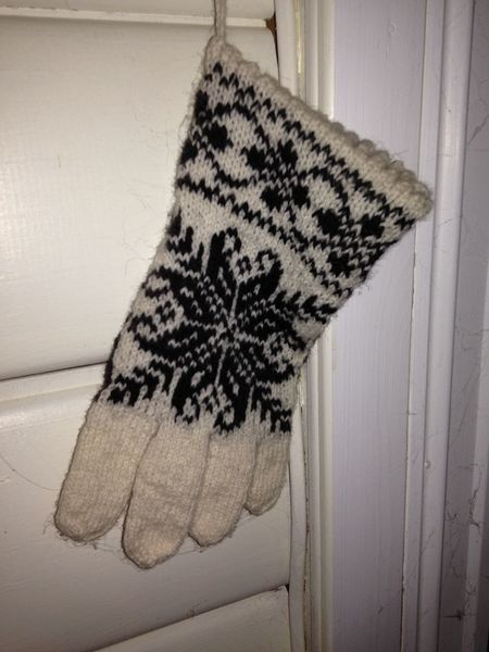 Close-up Glove Love Indoors  Knittedwithlove No People Old Pattern Warming Hand White And Black Woolen