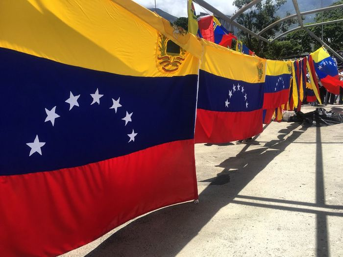 Flag Patriotism Pride Striped Day Textile Outdoors No People Blue Shadow Close-up Politics And Government Venezuela Venezuelan Flag Bandera Banderas
