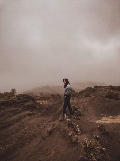 In the middle of bromo mountain