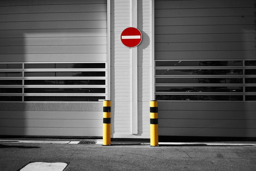 Warehouse Sign Red No People Road Transportation Architecture Road Sign Yellow Safety Communication Stop Sign Security City Wall - Building Feature Outdoors Day Symbol Built Structure Protection Guidance