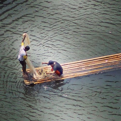 There are many fish. Catching fish. River Citarum Cianjur Rakit Ngecrik Ngalalauk Catcingfish Bambooboat Humaninterestphotography Humaninterest Huminesia Fish Photooftheday