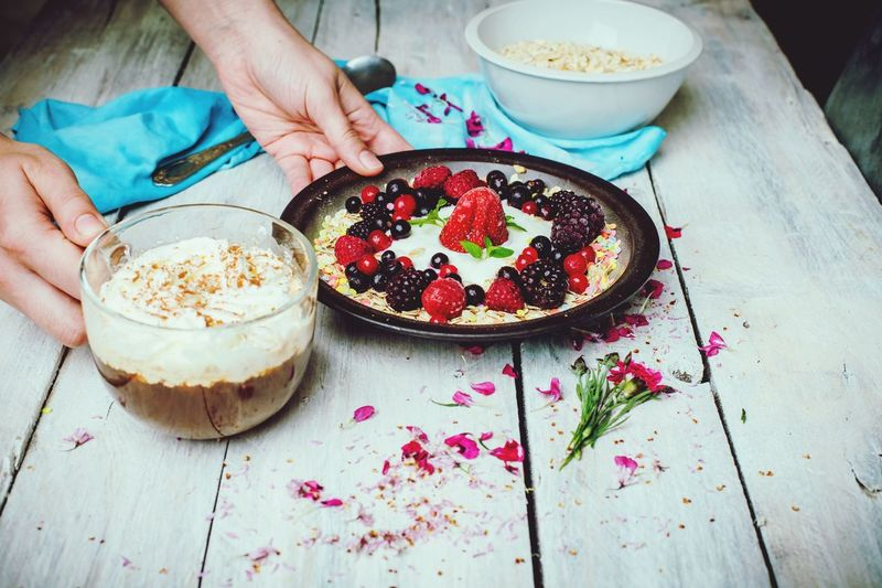 sunny, spring morning, lets eat breakfast Breakfast Healthy Eating Human Hand Sweet Pie Fruit Homemade Dessert Plate Cake High Angle View Table Berry Fruit Vanilla Blackberry - Fruit Blueberry Rowanberry Red Currant Vanilla Ice Cream  Blackberry Strawberry The Foodie - 2019 EyeEm Awards