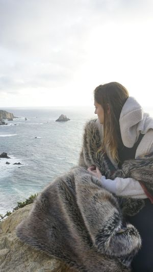 I fell in love with this view Spirithoods Togetherness Beach Sea Only Women Adult Embracing Leisure Activity People Vacations Friendship Tranquility Relaxation Outdoors
