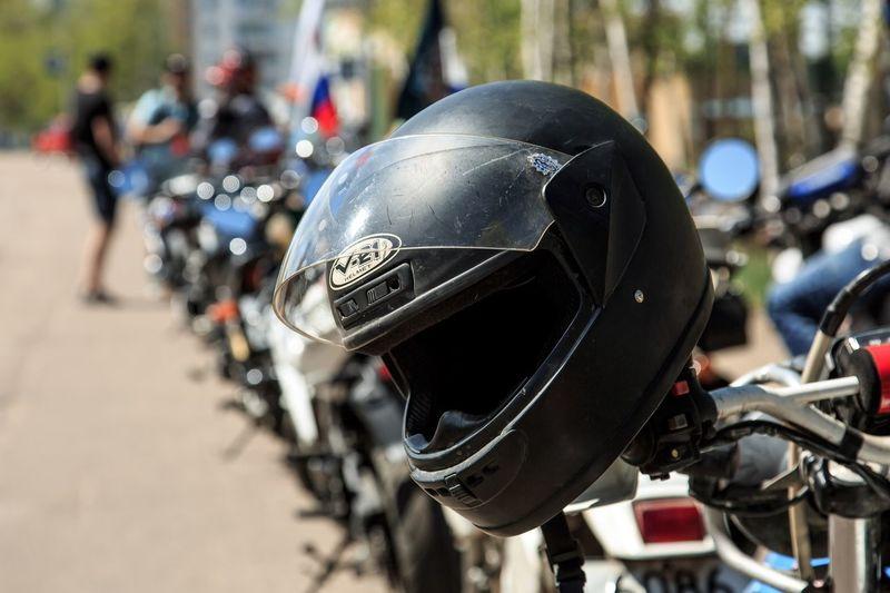 Helmet on bike