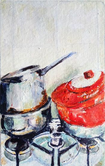 """Margaret's cooker with pans egg tempera 3""""x5"""" No People ArtWork Change Your Perspective The Purist ( No Edit, No Filter ) Home Interior"""